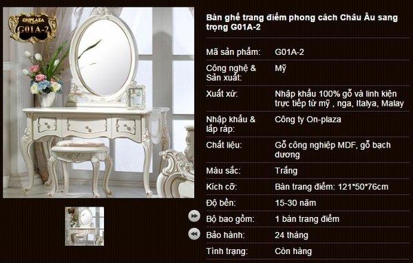 Bộ bàn trang điểm màu trắng đẹp cuốn hút G01A-2