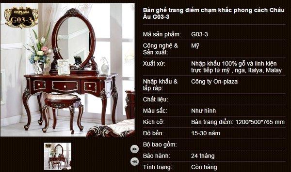 Bộ bàn trang điểm họa tiết tân cổ điển G03-3