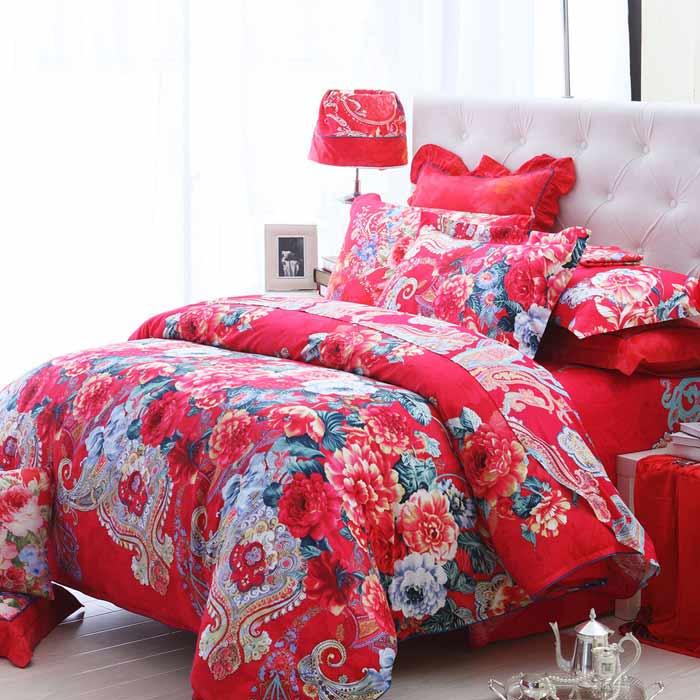 Bộ chăn ga đệm họa tiết hoa đỏ Hàn Quốc cao cấp CG009