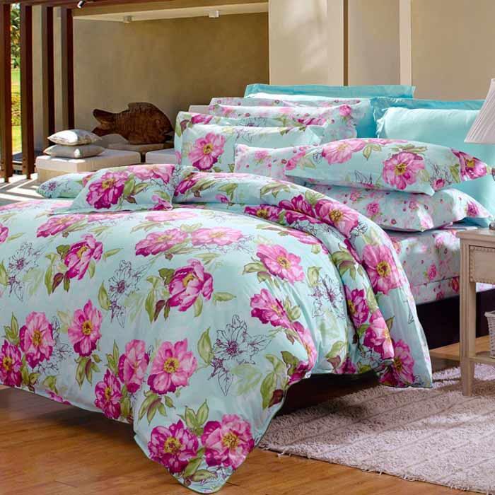 Bộ chăn ga đệm CG024 họa tiết bông hoa hồng cao cấp
