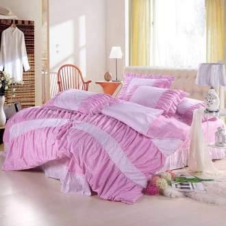 Bộ chăn ga Hàn Quốc nền hồng tím dễ thương CG062