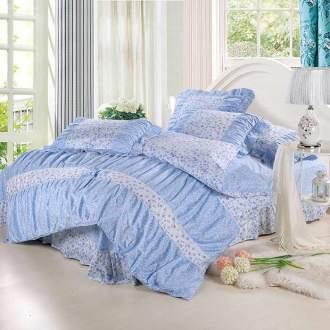 Bộ chăn ga vỏ gối nền xanh dương CG063 họa tiết hoa dễ thương