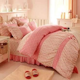 Bộ chăn ga đẹp màu hồng CG061 họa tiết chấm bi