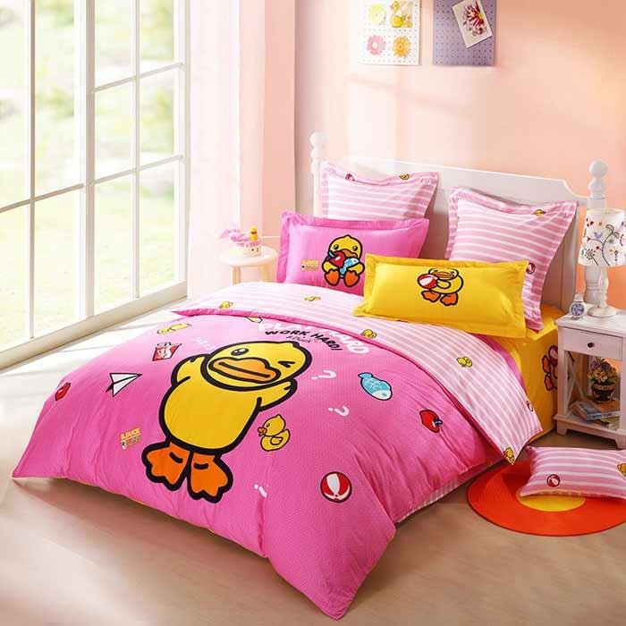 Bộ chăn ga trẻ em CG046 chú vịt vàng nền hồng dễ thương