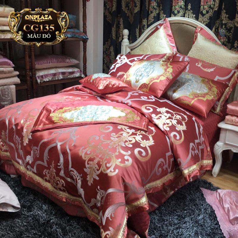 Bộ ga giường cao cấp hoa văn cổ điển sắc đỏ sang trọng CG135