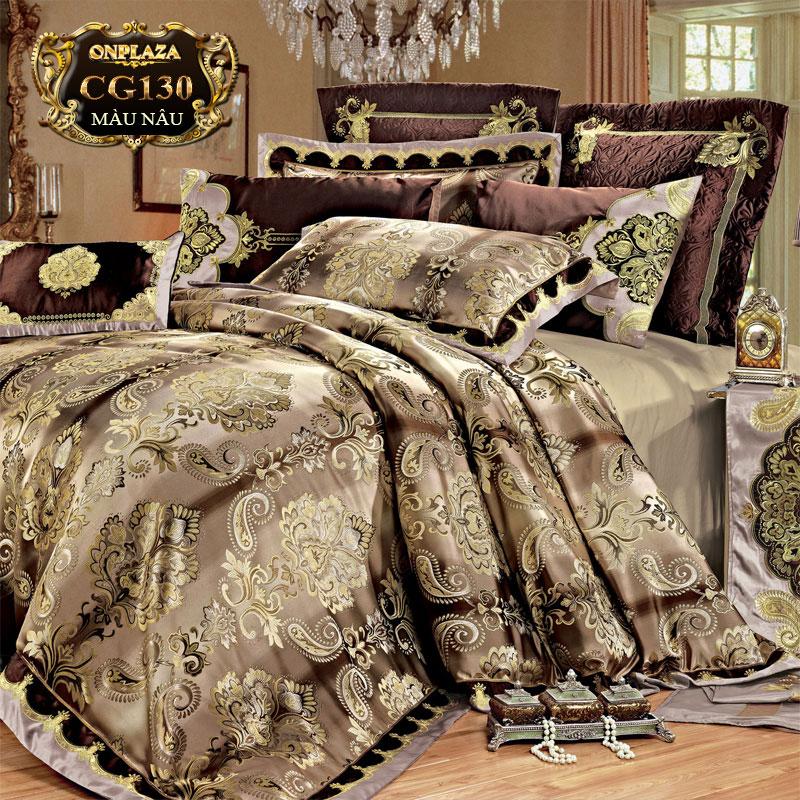Bộ ga giường cotton lụa HQ cao cấp sắc hoa nâu sang trọng CG130