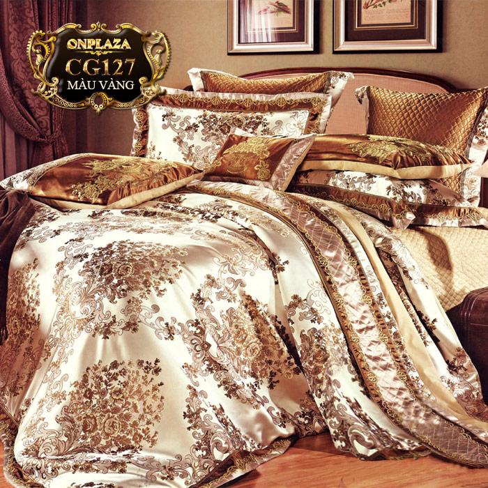 Bộ ga giường cotton lụa hoa văn tân cổ điển cao cấp CG127