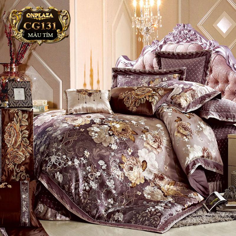 Bộ ga giường HQ cao cấp sắc hoa tím thời thượng CG131