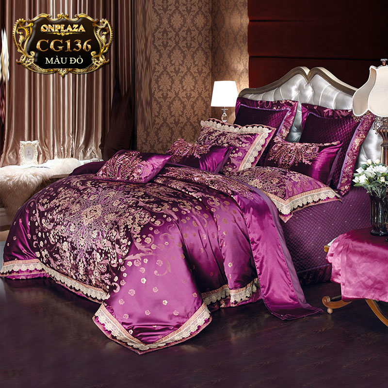 Bộ ga giường HQ cao cấp thêu hoa vàng nền tím sang trọng CG136