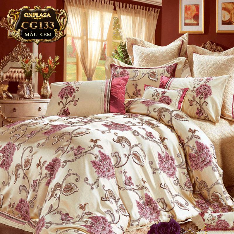 Bộ ga giường HQ cao cấp thêu hoa sắc kem trang nhã CG133
