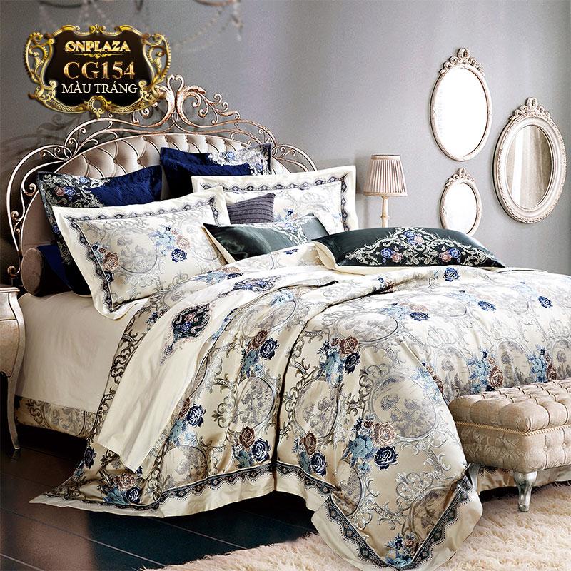 Bộ chăn ga trải giường CG154 nhập khẩu cao cấp thêu hoa