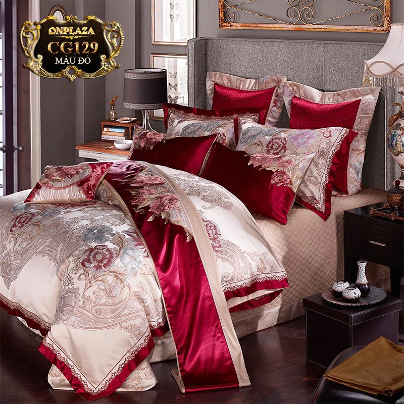 Bộ ga giường HQ cao cấp thêu họa tiết cổ điển sang trọng CG129