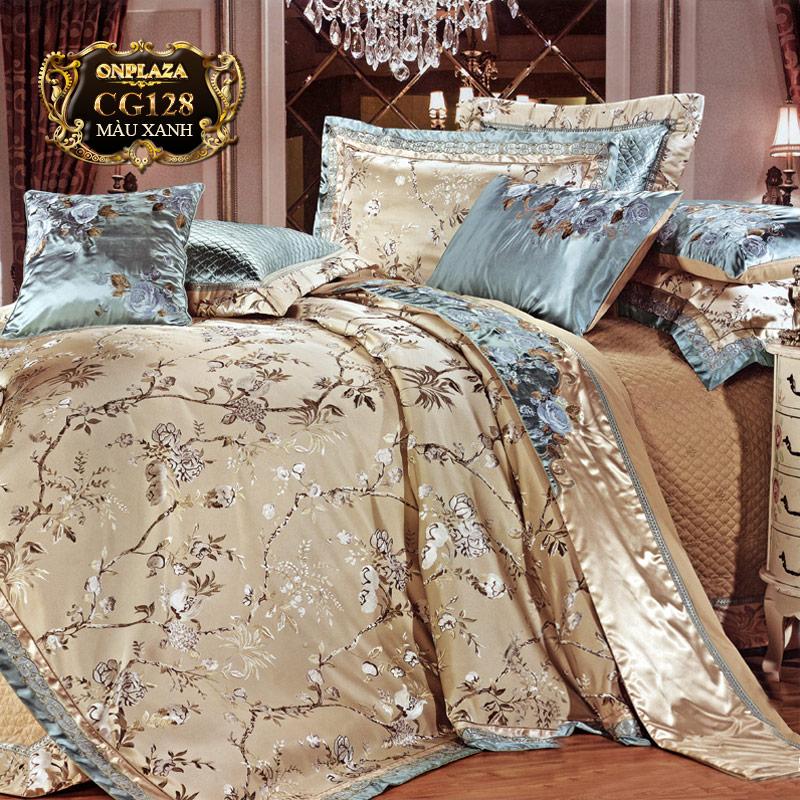 Bộ ga giường HQ cao cấp thêu hoa trắng sắc xanh trang nhã CG128