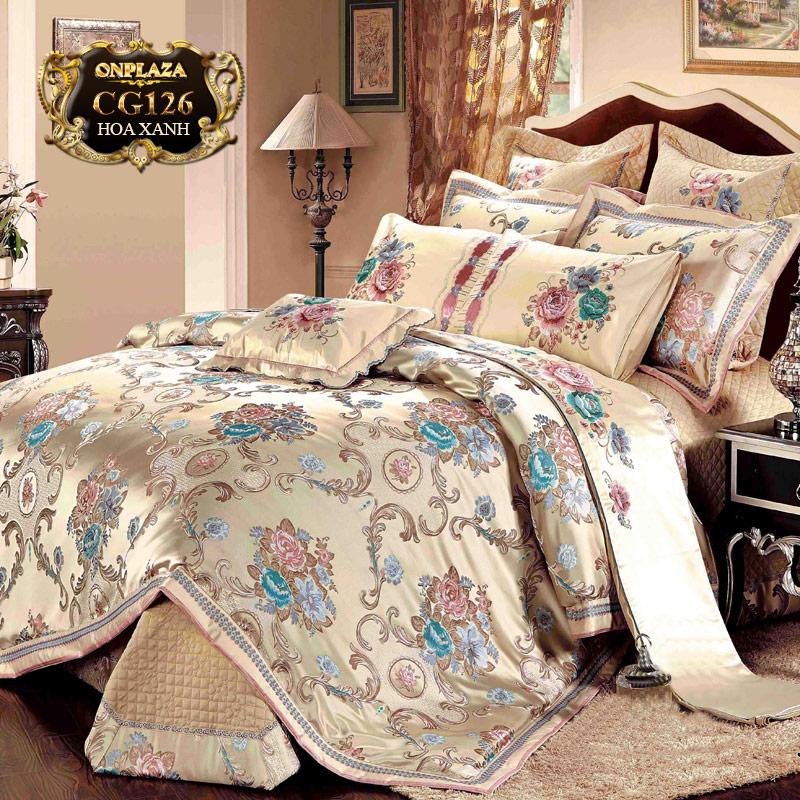 Bộ ga giường HQ thêu hoa sắc kem sang trọng CG126