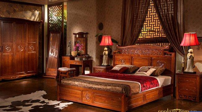 Giường ngủ khắc gỗ cổ điển sắc nâu sang trọng cho phòng ngủ G43