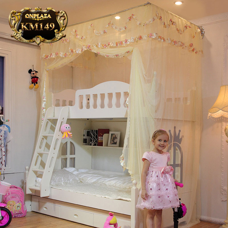 Bộ màn khung phối ren cao cấp dành cho giường tầng trẻ em KM149