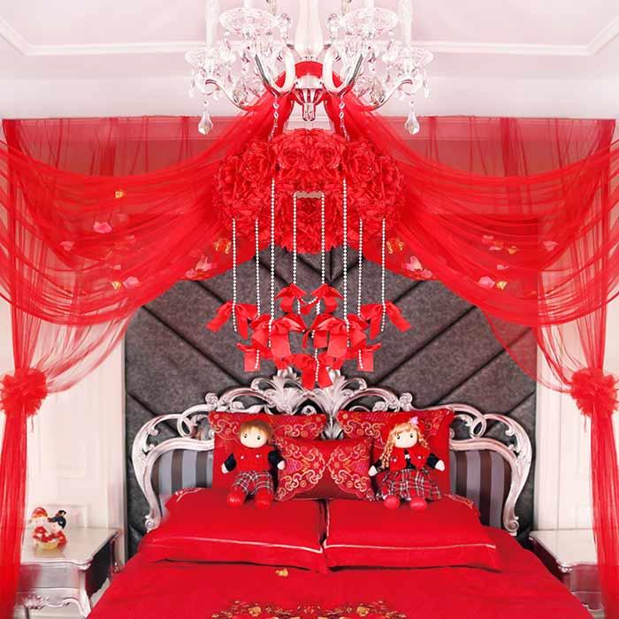 Bộ màn khung cưới Hàn Quốc cao cấp MK016 (Màu đỏ)