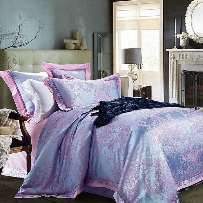 Bộ chăn ga họa tiết cổ điển châu âu đẹp CG095 màu hồng xanh