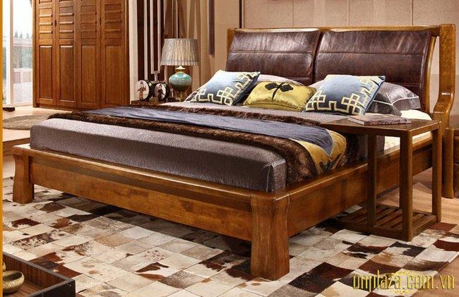 Giường ngủ gỗ sồi đẹp có thiết kế đơn giản hiện đại G36