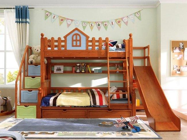 mẫu giường gỗ 2 tầng cho bé có cầu trượt G500