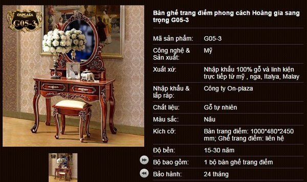 Bộ bàn ghế trang điểm phong cách hiện đại châu âu giá rẻ nổi bật G05-3
