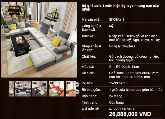 Bộ ghế sofa phòng khách giá rẻ SF08