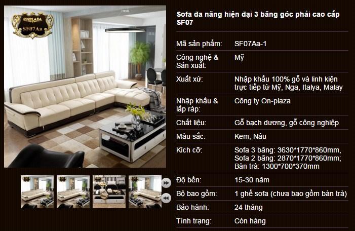 mẫu sofa hiện đại đẹp SF07